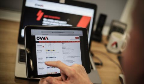 OWA systems on tablet and laptop screens